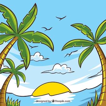 Tło palmy i ręcznie rysowane plaży