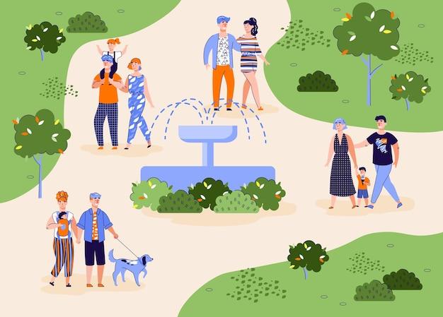 Tło parku miejskiego z spędzaniem weekendu na zewnątrz płaskiej ilustracji wektorowych