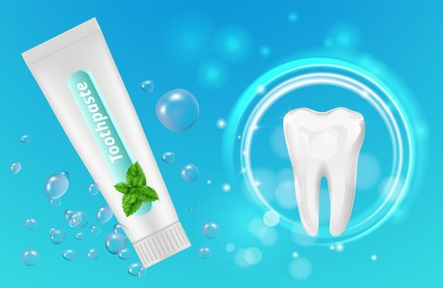 Tło pasty do zębów mięty. projekt plakatu stomatologicznego. realistyczna tubka i zęby pasty do zębów. ilustracja miętowa pasta do zębów i do zębów