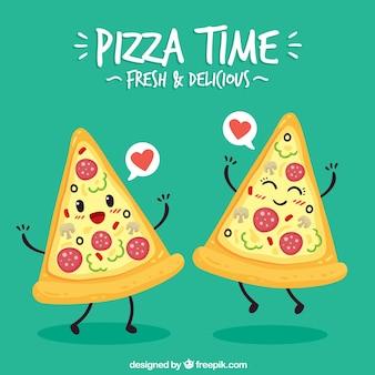 Tło pięknej pary pizzy