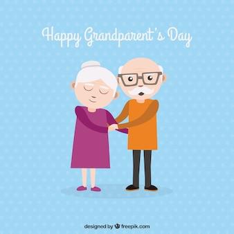 Tło pięknych dziadków trzymających się za ręce