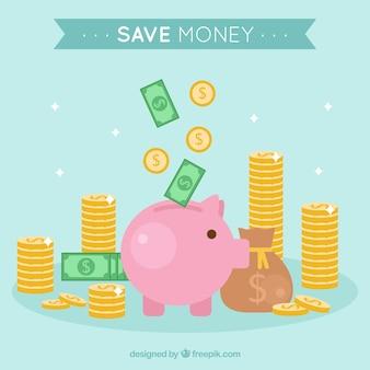 Tło piggy bank i oszczędności