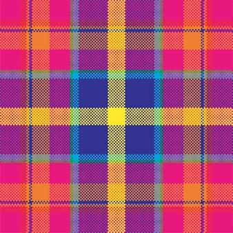 Tło pikseli. nowoczesny wzór kratki. tkanina o kwadratowej fakturze. szkocka tkanina w szkocką kratę. ozdoba madras w kolorze piękna.