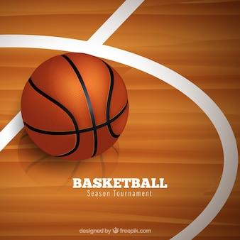 Tło piłka na boisku do koszykówki