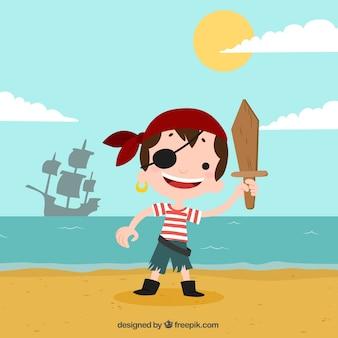 Tło pirata chłopca na plaży