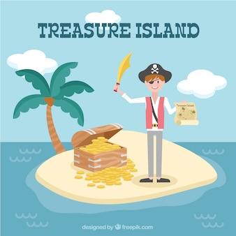 Tło pirate na skarbowej wyspie