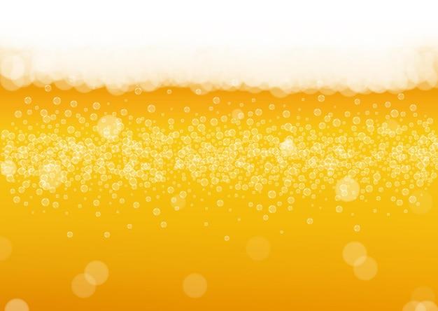 Tło piwa rzemieślniczego. plusk piwa. pianka oktoberfest. świąteczny kufel piwa z realistycznymi białymi bąbelkami.