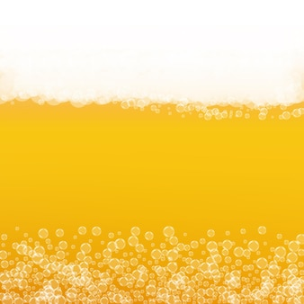 Tło piwa. splash piwa rzemieślniczego. pianka oktoberfest. złoty projekt menu. kufel piwa z pianką z realistycznymi bąbelkami. chłodny płynny napój do baru. pomarańczowa butelka na piankę oktoberfest.