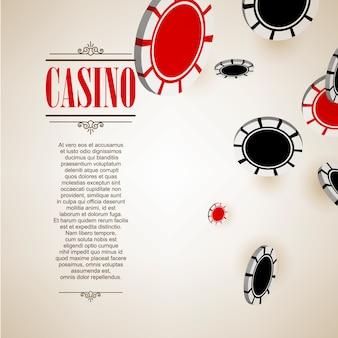 Tło plakat logo kasyna lub ulotki. zaproszenie na kasyno lub szablon transparentu z flying poker chips. design gry. granie w gry kasynowe. ilustracji wektorowych.