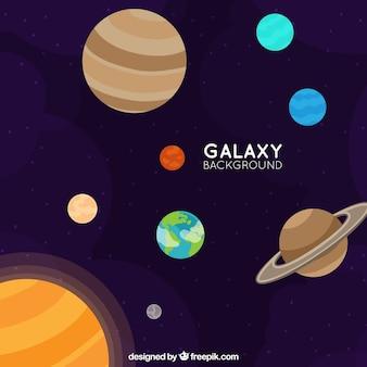 Tło planet w galaktyce