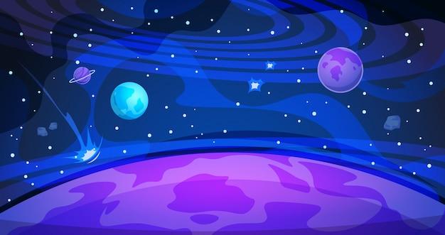 Tło planety. niebo galaktyka wszechświat płaski streszczenie noc krajobraz nauka nowoczesny plakat. baner kosmos