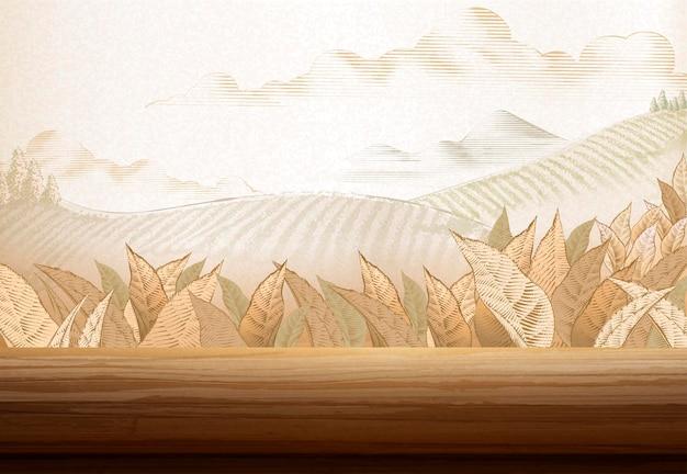 Tło plantacji herbaty w stylu grawerowania z drewnianym stołem z ilustracją 3d