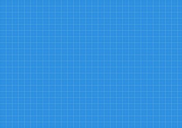 Tło planu, papier milimetrowy, niebieski nadruk wektor, siatka wzór