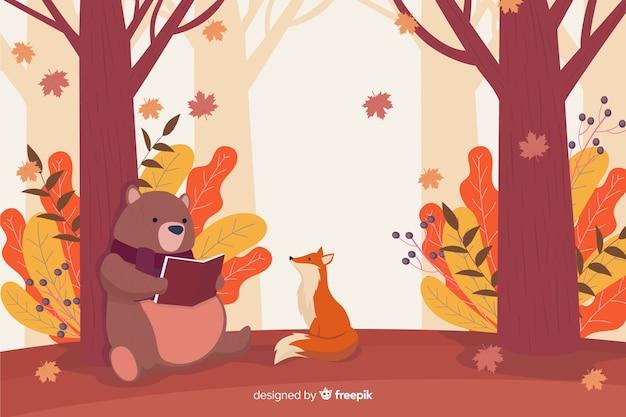Tło płaski jesień krajobraz