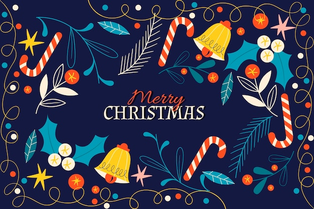 Tło płaskie dzwonki świąteczne