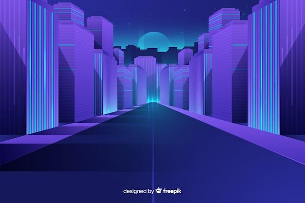 Tło płaskie futurystyczne miasto