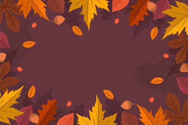 Tło płaskie jesienne liście