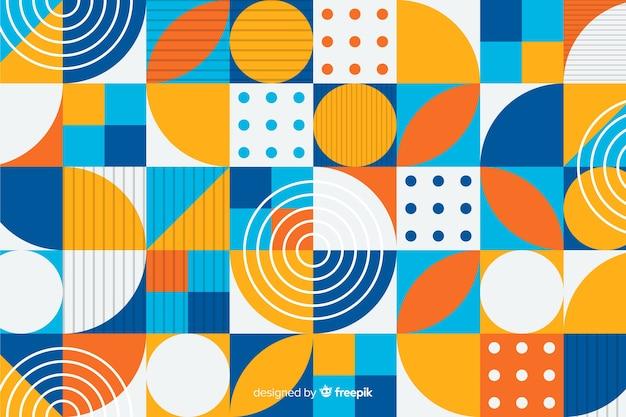 Tło płaskie kolorowe kształty geometryczne