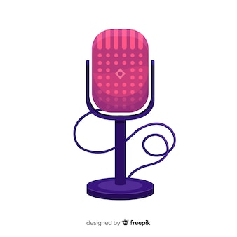 Tło płaskie mikrofon retro