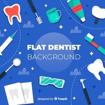 Tło płaskie narzędzia stomatologiczne