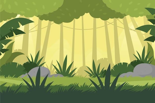 Tło płaskie tropikalnej dżungli
