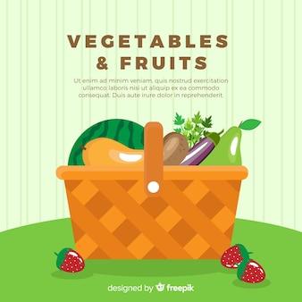 Tło płaskie warzywa i owoce