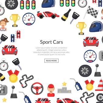 Tło płaskie wyścigi samochodowe ikony z miejscem na tekst