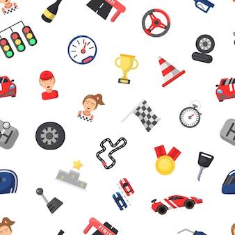 Tło płaskie wyścigi samochodowe ikony