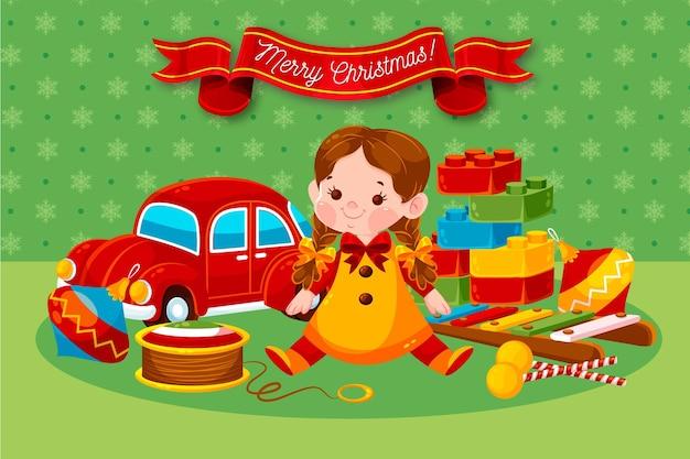 Tło płaskie zabawki świąteczne