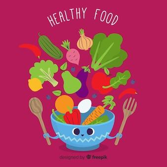 Tło płaskie zdrowej żywności