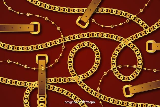 Tło płaskie złote łańcuchy