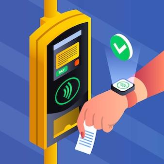 Tło płatności nfc płatności transportu publicznego, izometryczny styl
