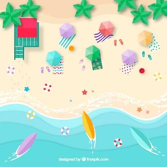 Tło plaża z góry z parasolami