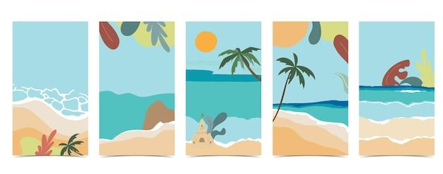 Tło plaży dla mediów społecznościowych z niebem, piaskiem, słońcem