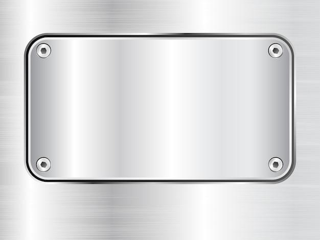 Tło płyty metalowej, tabliczka znamionowa ze stali, śruby, ilustracji wektorowych.