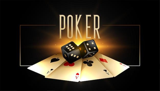 Tło pokera ze złotymi kartami i realistycznymi kostkami