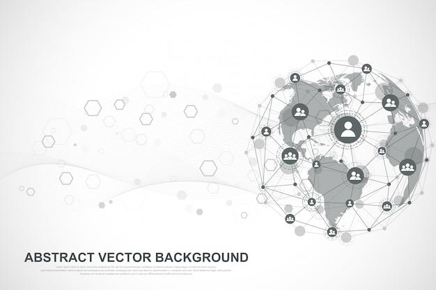 Tło połączenia internetowego, abstrakcyjne poczucie nauki i technologii projekt graficzny. globalne połączenie sieciowe