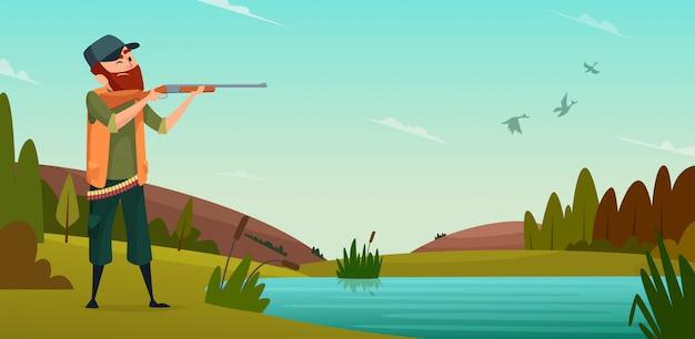 Tło polowania na kaczki. kreskówki ilustracyjny myśliwy na polowaniu