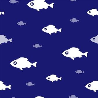 Tło połowów. wzór z śmieszne białe ryby na niebiesko. ilustracja wektorowa.
