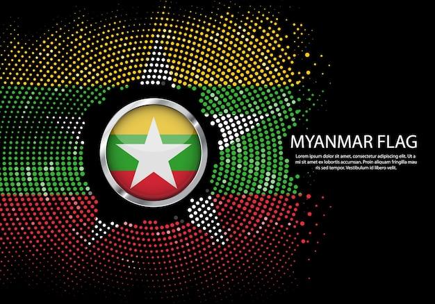 Tło półtonów gradient szablon flagi birmy.
