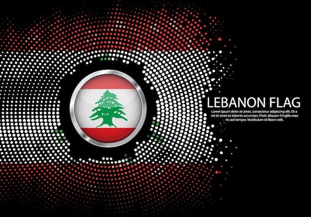 Tło półtonów gradient szablon flagi libanu.