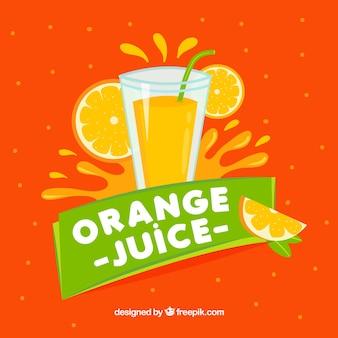 Tło pomarańczowy sok z zielonymi detalami