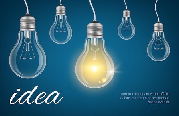 Tło pomysł żarówki. ilustracja żarówki realistyczne lampy