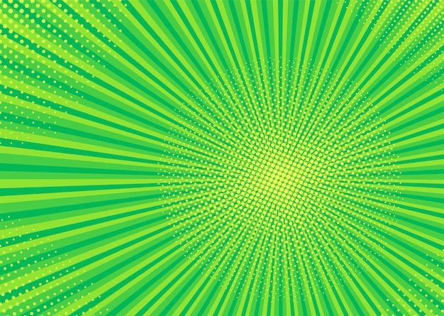 Tło pop-artu. komiczna tekstura z półtonami i sunburst. zielony
