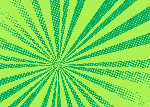 Tło pop-artu. komiksowy wzór rastra. zielona kreskówka z kropkami i promieniami. vintage tekstury bichromii.