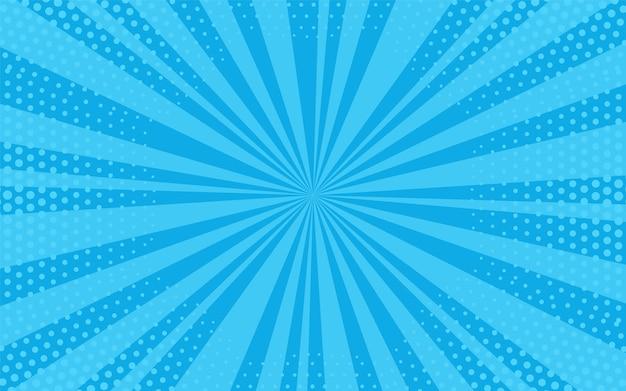 Tło pop-artu. komiksowy wzór z półtonami starburst. kreskówka niebieski sztandar. słoneczna tekstura