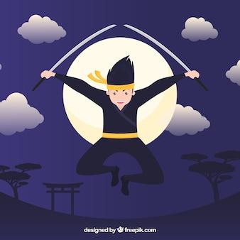 Tło postaci ninja z płaskiej konstrukcji