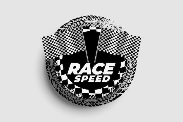Tło prędkości z flagami wyścigowymi