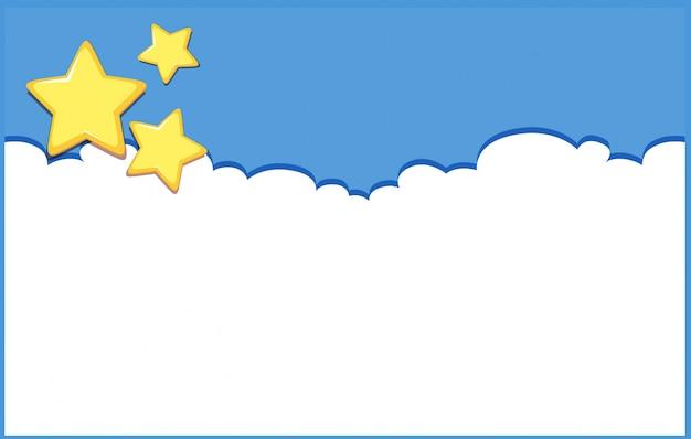 Tło projekt z gwiazdami na niebieskim niebie