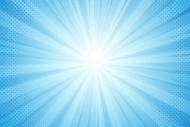 Tło promieni słonecznych, niebieskie światło w komiksowym stylu